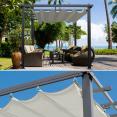Pergola 4 pieds 3x4m tonnelle avec toit rétractable écru
