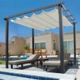 Pergola toit rétractable écrue tonnelle 4 pieds 3x3m
