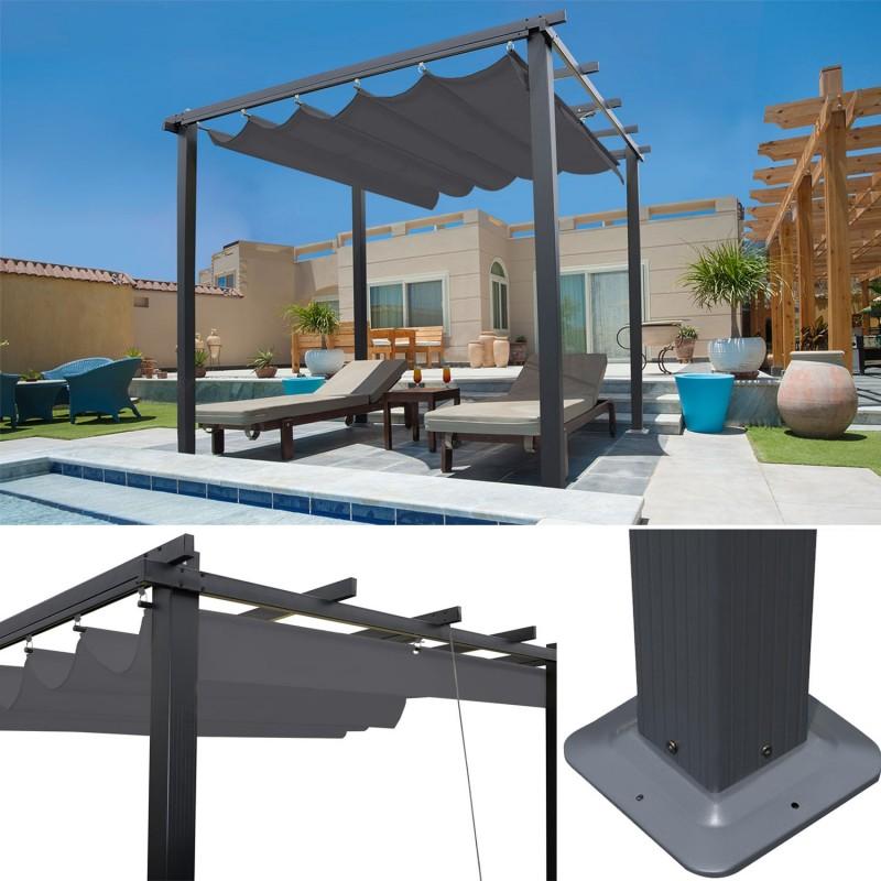 pergola toit r tractable gris tonnelle 4 pieds 3x3m ebay. Black Bedroom Furniture Sets. Home Design Ideas