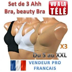 Lot de 3 AHH BRA, beauty bra - noir, beige, blanc