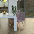 Chaises X4 VERANE capitonnées tissu gris pour salle à manger