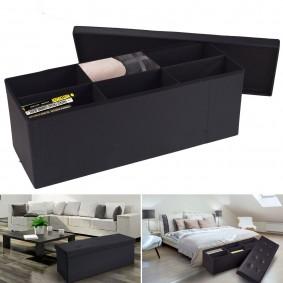 Banc coffre 6 compartiments noir 100x38x38cm PVC