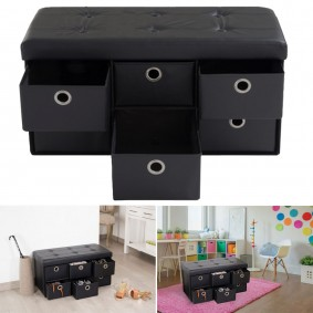 Banc coffre rangement noir 6 tiroirs 76x38x38cm PVC