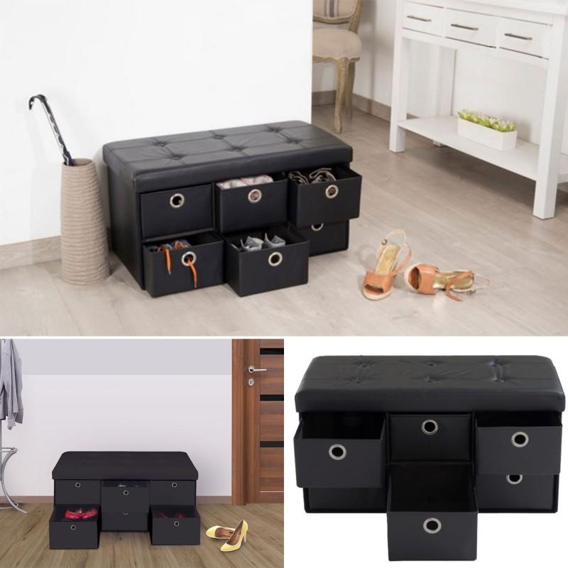 banc coffre rangement noir 6 tiroirs 76x38x38cm pvc. Black Bedroom Furniture Sets. Home Design Ideas