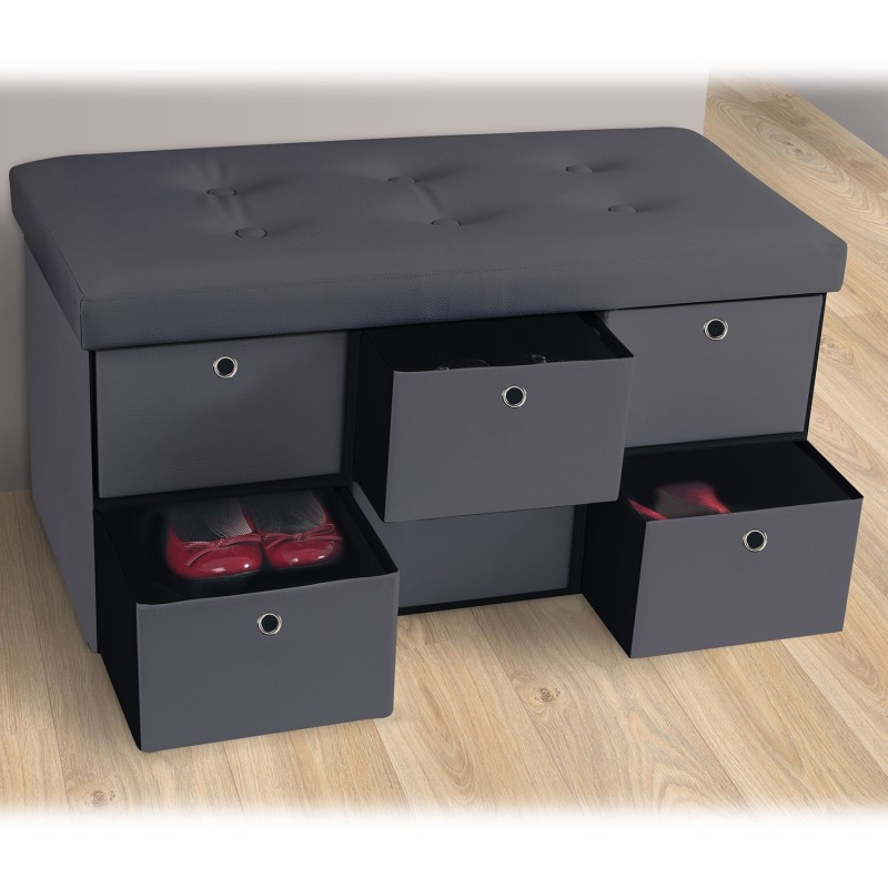 banc coffre rangement gris 6 tiroirs 76x38x38cm pvc accessoires ma. Black Bedroom Furniture Sets. Home Design Ideas