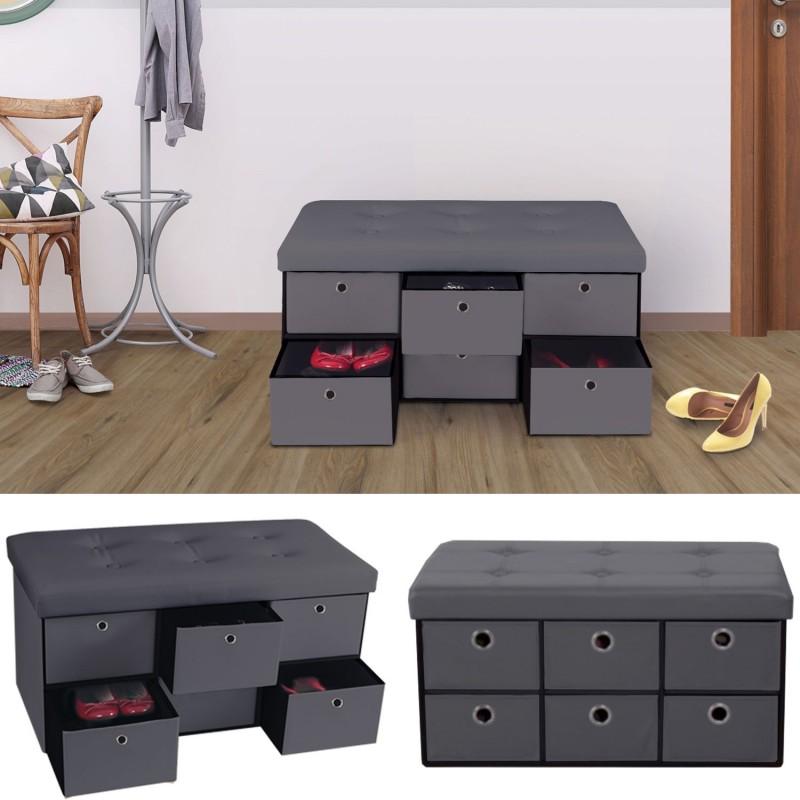banc coffre rangement gris 6 tiroirs 76x38x38cm pvc meubles et am. Black Bedroom Furniture Sets. Home Design Ideas