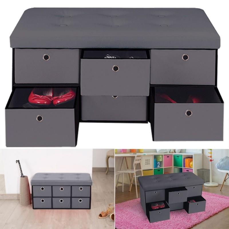 banc coffre rangement gris 6 tiroirs 76x38x38cm pvc accessoires ma. Black Bedroom Furniture Sets. Home Design Ideas