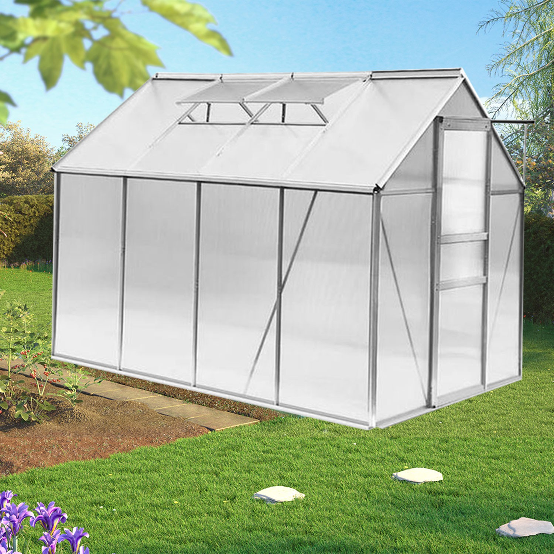 Serre de jardin aluminium et polycarbonate m 250x190x195 cm t - Serre alu polycarbonate ...