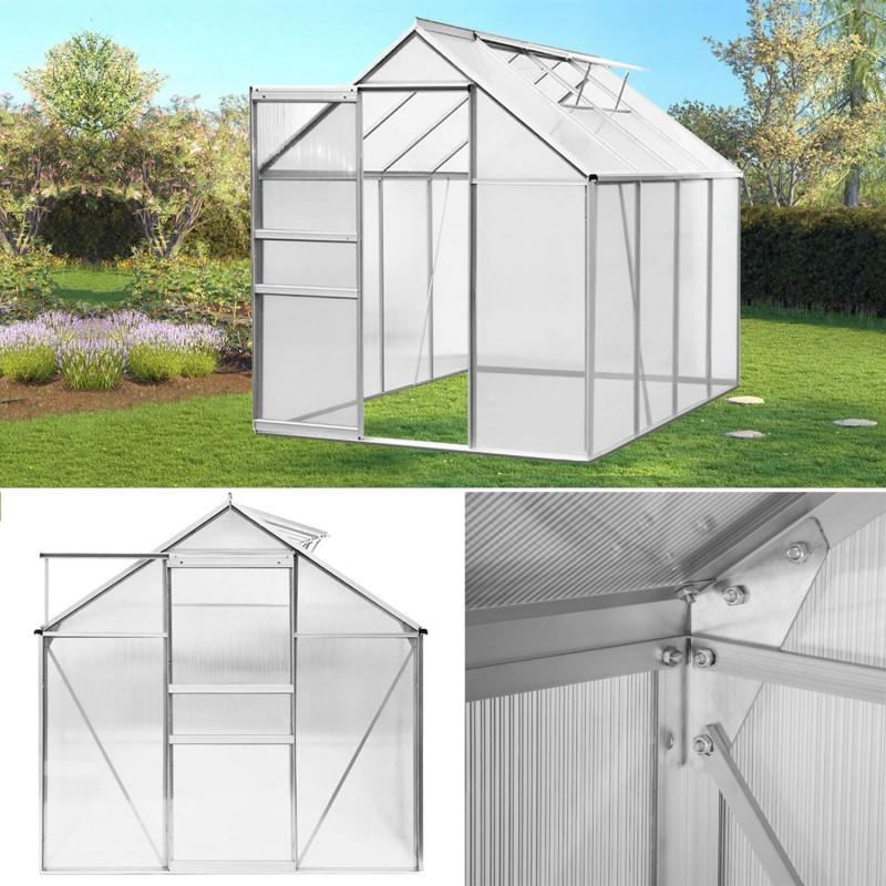 Serre de jardin aluminium et polycarbonate m 250x190x195 cm - Serre alu polycarbonate ...