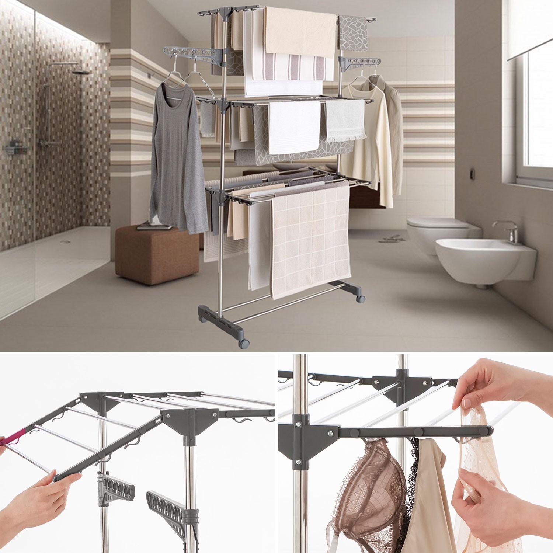 tendoir linge pas cher en inox et pliable id market. Black Bedroom Furniture Sets. Home Design Ideas