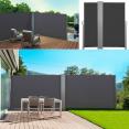 Paravent extérieur rétractable double 600x 140 cm gris store vertical