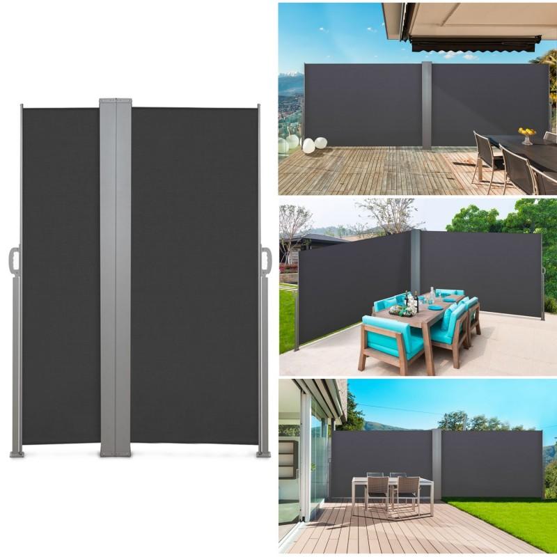 paravent ext rieur r tractable double 600x140 cm gris store vertica. Black Bedroom Furniture Sets. Home Design Ideas