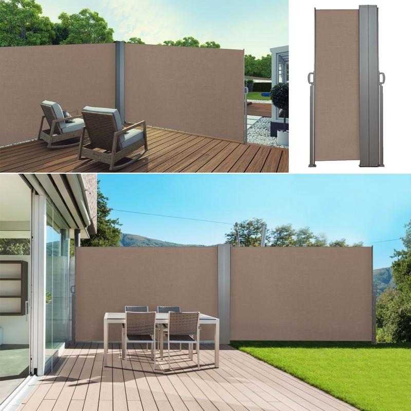 paravent ext rieur r tractable double 600x140 cm taupe store vertic. Black Bedroom Furniture Sets. Home Design Ideas