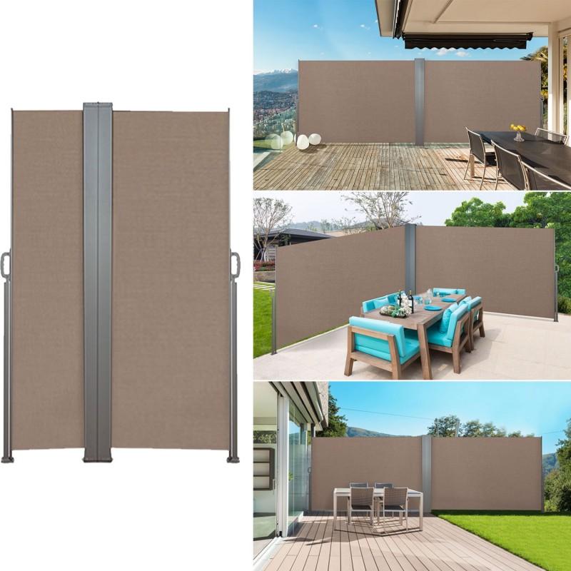 paravent ext rieur r tractable double 600x140 cm taupe. Black Bedroom Furniture Sets. Home Design Ideas