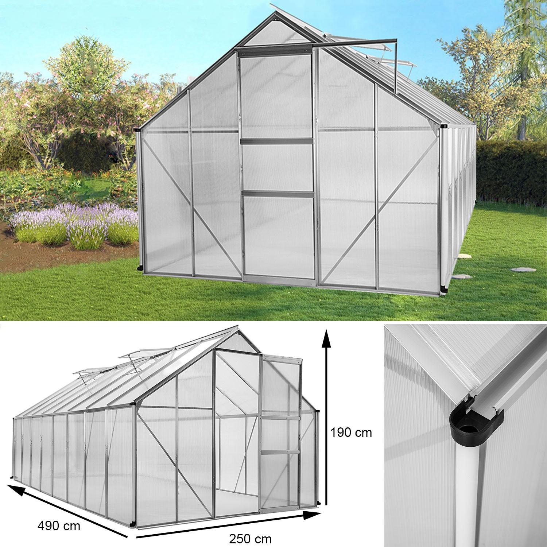 Serre de jardin aluminium polycarbonate 12 25m² 4 90x2 50x1 90m