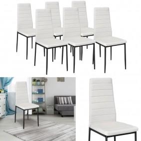 Lot de 6 chaises ROMANE blanches pour salle à manger