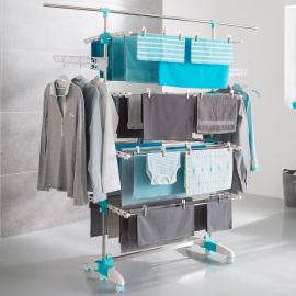 Séchoir à linge 4 niveaux réglables + barre télescopique pour draps