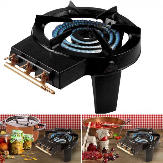r chaud gaz en fonte 3 robinets laiton cuisine et ustensiles. Black Bedroom Furniture Sets. Home Design Ideas