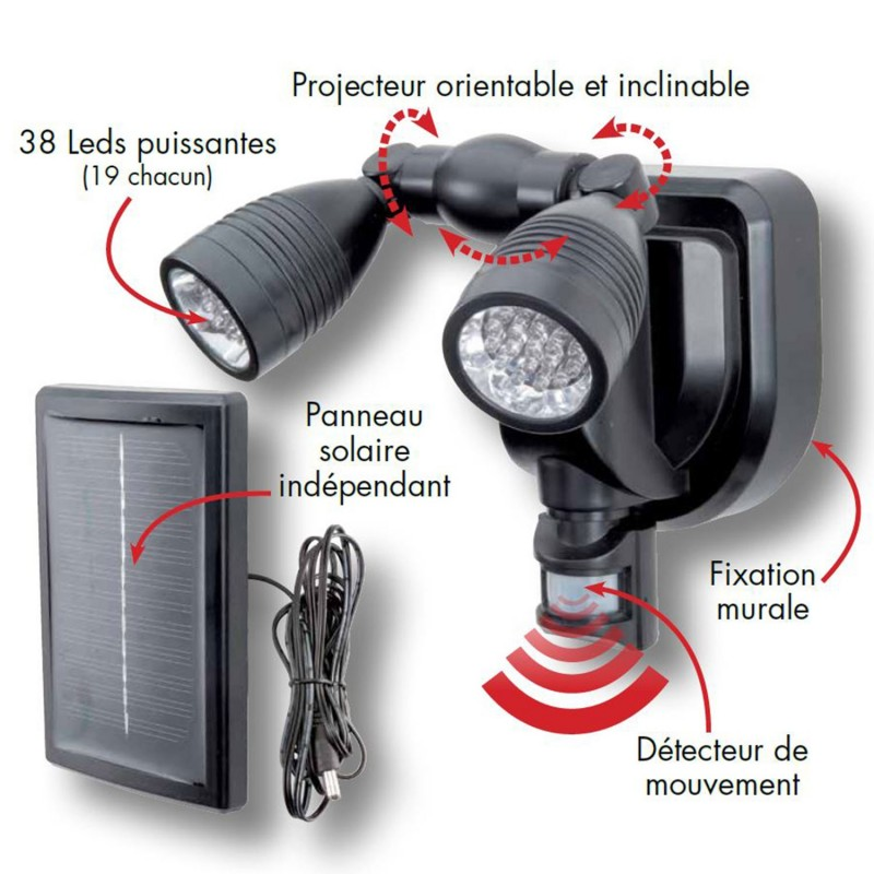 lampe double projecteur solaire orientable 38 leds avec d tecteur d. Black Bedroom Furniture Sets. Home Design Ideas