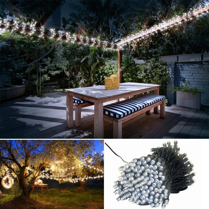 guirlande solaire 400 led blanches d corative jardin eclairage et. Black Bedroom Furniture Sets. Home Design Ideas