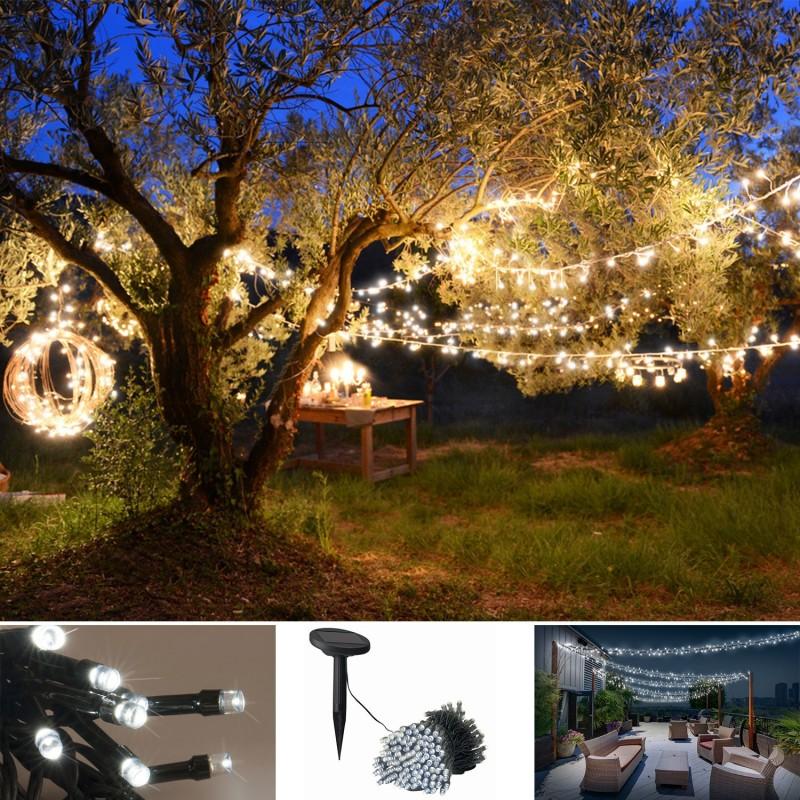 guirlande 50 leds solaire blanches decorative eclairage et d corat. Black Bedroom Furniture Sets. Home Design Ideas