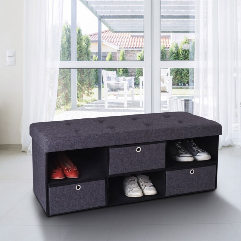 free banc coffre tissu tiroirs gris xx cm pliable with banc coffre but. Black Bedroom Furniture Sets. Home Design Ideas