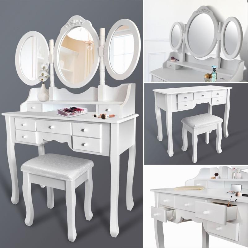100 coiffeuse avec miroir et tabouret songmics coiffeuse avec tabouret tiroir et miroir. Black Bedroom Furniture Sets. Home Design Ideas