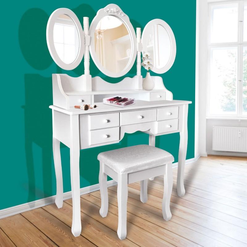 coiffeuse 3 miroirs en bois et tabouret meubles et am nagement. Black Bedroom Furniture Sets. Home Design Ideas