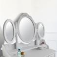 Coiffeuse 3 miroirs en bois et tabouret