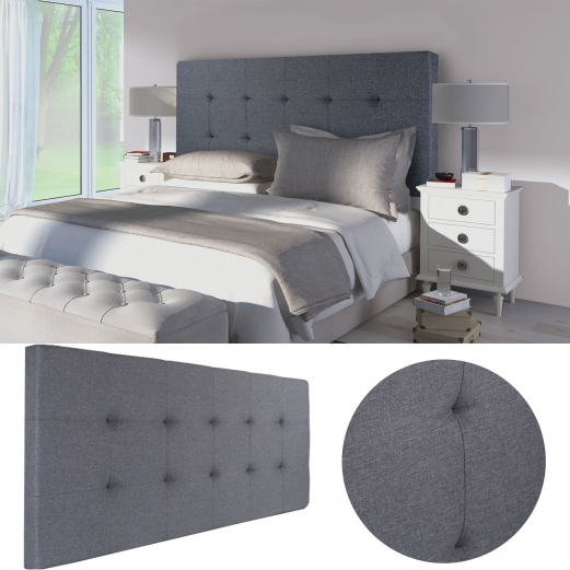 t te de lit capitonn e en tissu 160x58 cm grise anthracite meubles. Black Bedroom Furniture Sets. Home Design Ideas