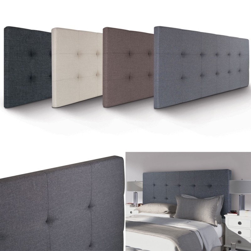 t te de lit capitonn e en tissu 160x58 cm grise anthracite. Black Bedroom Furniture Sets. Home Design Ideas