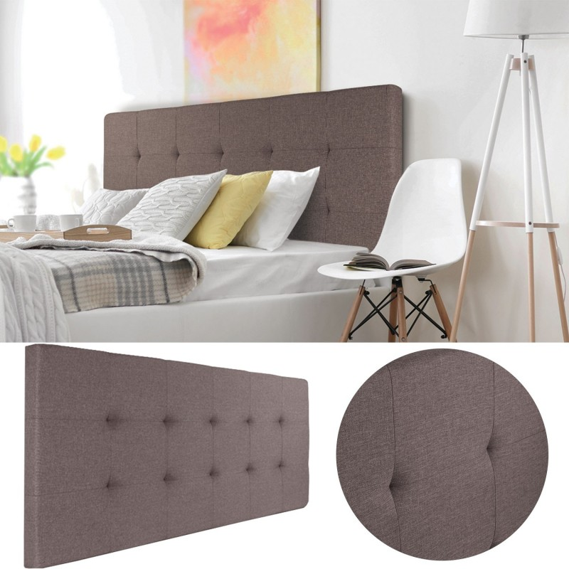 t te de lit capitonn e en tissu 160x58 cm taupe accessoires maison. Black Bedroom Furniture Sets. Home Design Ideas