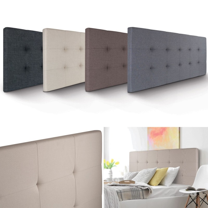 t te de lit capitonn e en tissu 160x58 cm crue. Black Bedroom Furniture Sets. Home Design Ideas