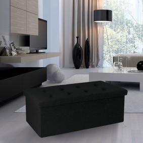 Banc coffre rangement tissu noir 100*38*38 pliable