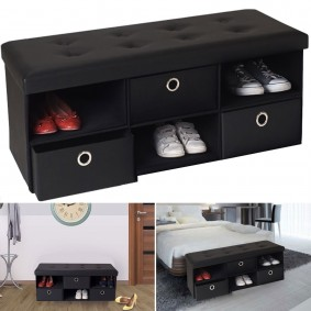 Banc coffre 3 tiroirs noir 100x38x38 cm PVC pliable