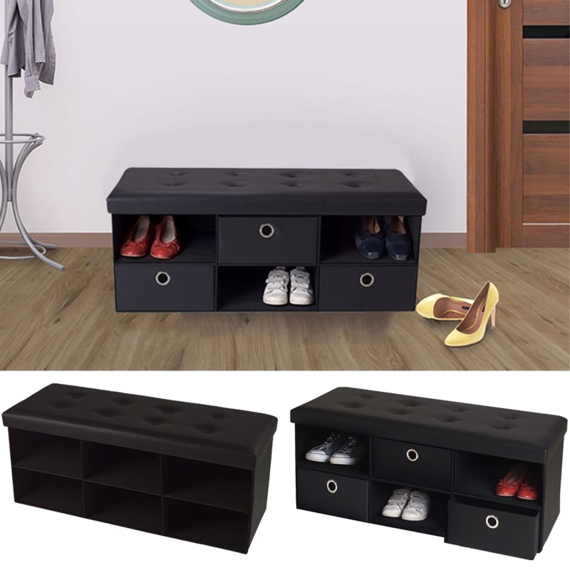 banc coffre 3 tiroirs noir 100x38x38 cm pvc pliable meubles et am. Black Bedroom Furniture Sets. Home Design Ideas