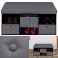 Banc coffre 3 tiroirs gris 76x38x38 cm PVC pliable