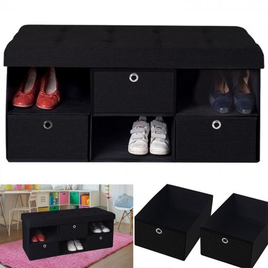 banc coffre tissu 3 tiroirs noir 100x38x38 cm pliable meubles et a. Black Bedroom Furniture Sets. Home Design Ideas