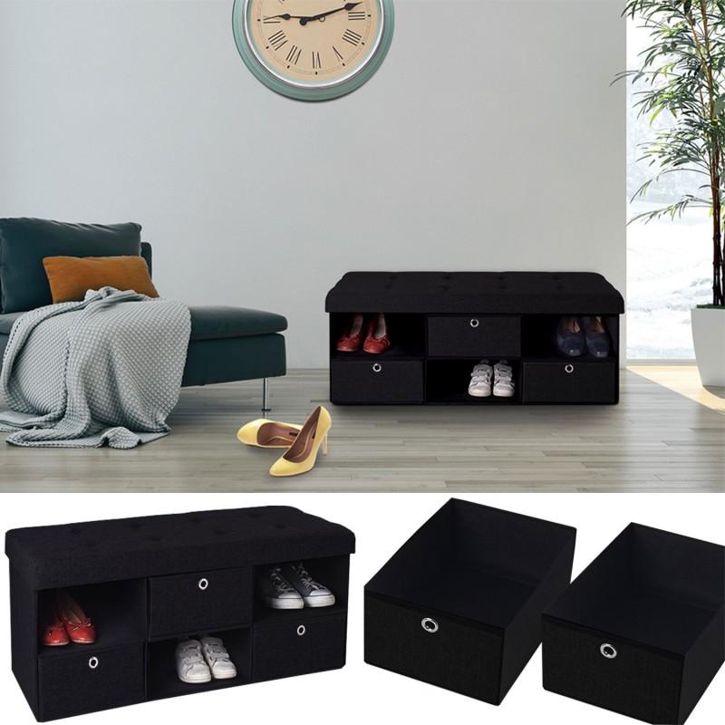 banc coffre tissu 3 tiroirs noir 100x38x38 cm pliable accessoires. Black Bedroom Furniture Sets. Home Design Ideas