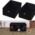 Banc coffre tissu 3 tiroirs noir 100x38x38 cm pliable