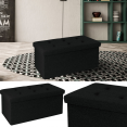 Banc coffre rangement tissu noir 76x38x38cm pliable