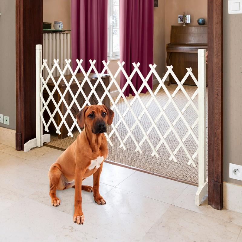 Barri re extensible blanche treillis plastique animalerie for Repulsif pour chien interieur