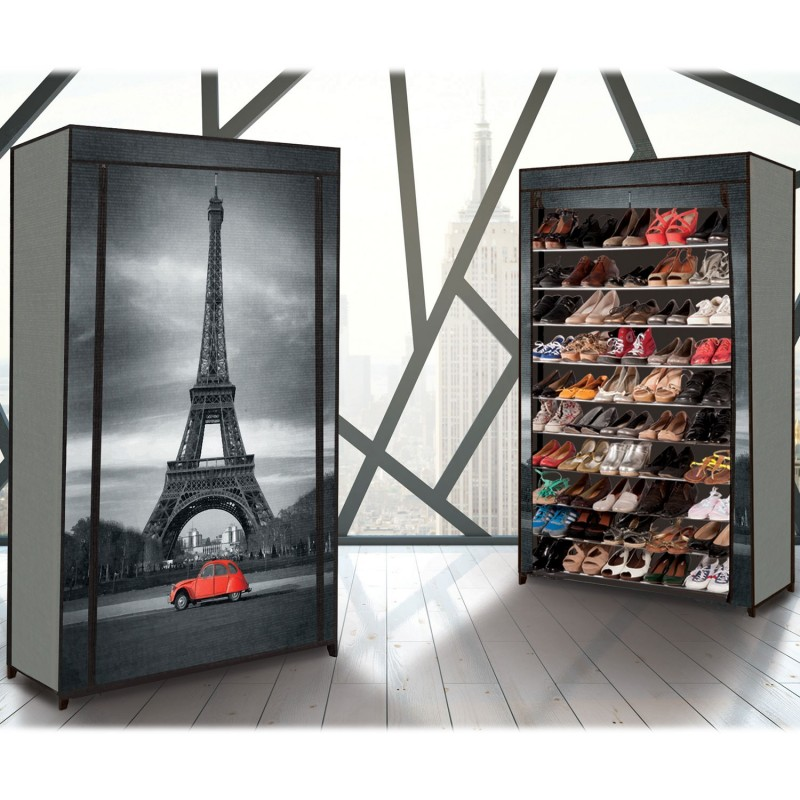 tag re range chaussures 50 paires eco avec housse imprim paris m. Black Bedroom Furniture Sets. Home Design Ideas