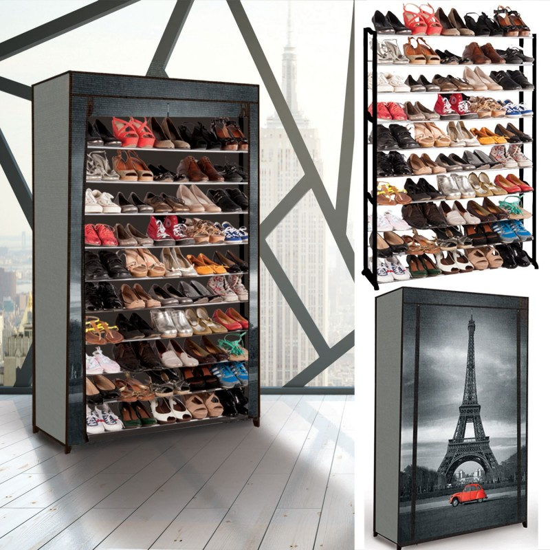 tag re range chaussures 50 paires eco avec housse imprim. Black Bedroom Furniture Sets. Home Design Ideas