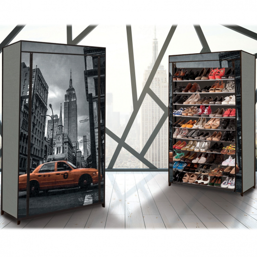 """Étagère range chaussures 50 paires ECO avec housse imprimé """"New York"""""""