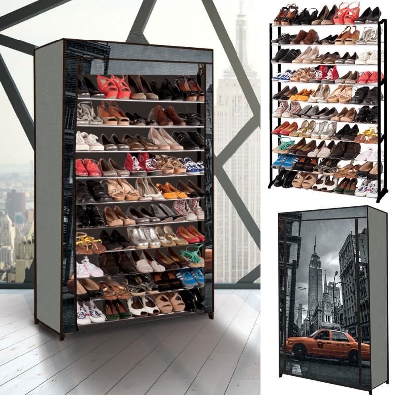 Tag re range chaussures 50 paires eco avec housse imprim - Meuble rangement chaussures 54 paires ...