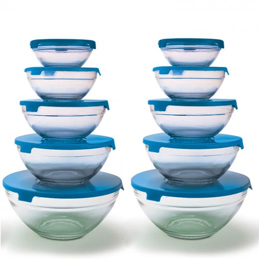 10 bols de conservation en verre+10 couvercles bleus hermétiques