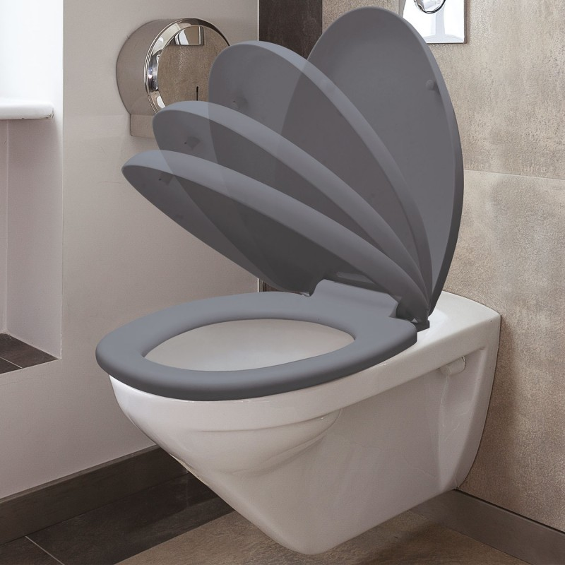 abattant wc gris avec frein de chute int gr ebay. Black Bedroom Furniture Sets. Home Design Ideas