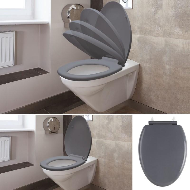 abattant wc gris avec frein de chute int gr linge et entretien de. Black Bedroom Furniture Sets. Home Design Ideas