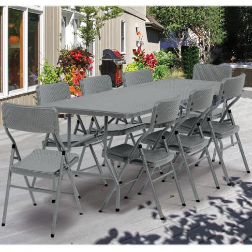 chaise d 39 appoint pliante portable effet r sine tress e grise. Black Bedroom Furniture Sets. Home Design Ideas